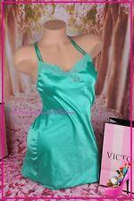 Victorias Secret Lingerie Babydoll Chemise Slip Unlined Lace Sexy Slick Green S