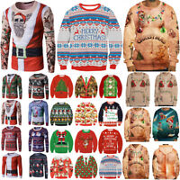Unisex Mens Womens Ugly Christmas Sweater Sweatshirt Hoodie Xmas Jumper Pullover