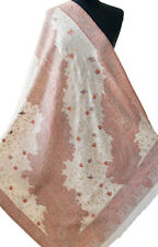 """Ivory White & Coral Pink  Embroidered Shawl Wool Wrap. 79"""" x 40"""" Autumn Floral"""