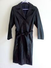Ladies long black vintage leather trench coat