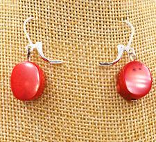 Pretty genuine red coral earrings silver hook AAA