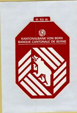 ADESIVO VINTAGE STICKER KANTONALBANK VON BERN BANQUE CANTONALE DE BERNE