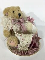 Royal Castle Fine Bone China Teacup And Saucer With Collectible Bear Roses Lace