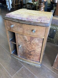 Antique French Art Deco Marble Top Bedside Table, Lamp Table
