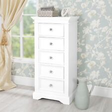 Gainsborough White Tallboy Narrow Chest of Drawers 5 Drawer With Crystal Knobs