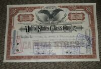 STOCK CERTIFICATE 6 Shares US UNITED STATES GLASS COMPANY CO Pennsylvania OLD!