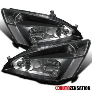 For 2003-2007 Honda Accord LX EX 2/4Dr Black Headlights Lamps Replacement 03-07