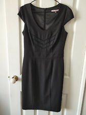 Review Charcoal Grey Pleated Formal Pencil Dress Size 10