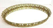 New listing Vintage Large Ormolu Vanity Dresser Mirror Tray Gilt Gold Filigree Metal Brass