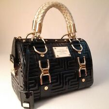 MINT GIANNI VERSACE COUTURE LEATHER GRECA QUILT DOCTOR HANDBAG BLACK ITALY