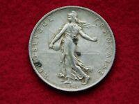 "VINTAGE   1 1/16"" ACROSS  1919  2 FRANCS SILVER COIN"