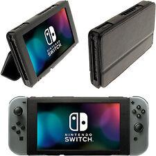Negro PU Cuero Funda Carcasa para Nintendo Switch Flip Cubierta Case Soporte