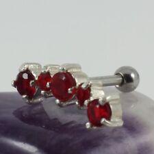 Helix Ear Cartilage Bar Piercng Silver Motif Light Siam Crystal 1.2 x 6 mm New