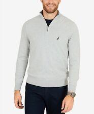 $140 Nautica Men Gray Quarter-Zip Sweater Pullover Long-Sleeve Sweatshirt Size S