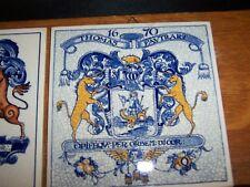 "2 DELFT HOLLAND HANDMADE PHARMACY SOCIETY OF THE ARTS TILES  6"" x 6"" TILE"