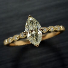 1 Ct Marquise Cut Diamond Solitaire Engagement Ring In Real 14K Yellow Gold