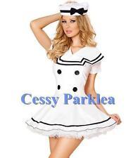 50s Vintage White Sailor Costume Halloween Adult Ladies Dress w/ Hat