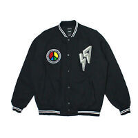 Mens 10 Deep 69 Varsity Jacket Black Graphic Patches