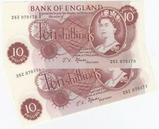 Great Britain 'J. S. Forde.' (1966 -70) 10/-, Uncirculated (Consecutive Pair)