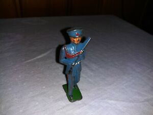 Old Toy Grey Iron Cast Iron Marching Military Soldier Blue Dress Uniform Parade