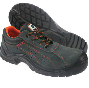 NEW MENS LIGHTWEIGHT STEEL TOE CAP LEATHER SAFETY WORK TRAINERS LADIES SHOES SZ