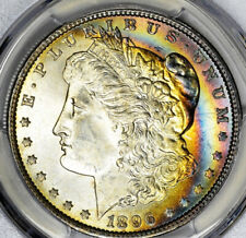 1896 Morgan Silver Dollar PCGS MS64 CAC Rainbow Toned