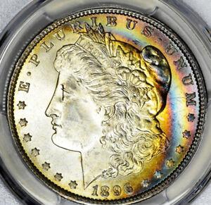 1896 Morgan Silver Dollar PCGS MS64 CAC Rainbow Toned
