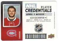 2017-18 Upper Deck MVP Player Credentials Level 1 Access AG Alexander Galchenyuk