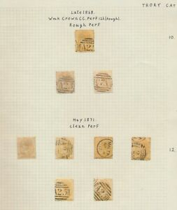 MALTA STAMPS 1868-1871 QV HALFPENNY YELLOWS 1/2d PAGE OF USED, SG14/15 CV £1000+
