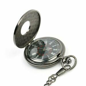 Mens Pocket Watch Mechanical Black Steampunk Skeleton Retro Chain Luxury