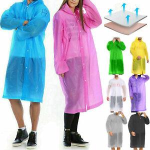 Adults Raincoat Poncho Reusable Waterproof Camping Outdoor Plastic Rain Coats