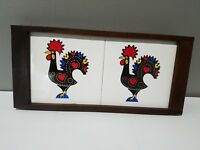 Rooster Motif Mid Century Modern Wood Tile Tray Vintage Made in Brazil