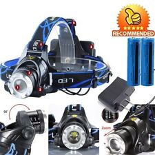 90000LM Rechargeable LED Headlamp Tactical Camping T6 US Headlight+Batt+Charger