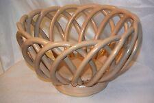 """Pottery & China Studio Pottery Basket Weave Bowl Pottery & Glass 8.5"""" Across."""