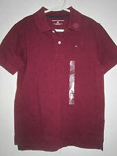 TOMMY HILFIGER Boys NWT  Burgundy Polo Shirt S Small  6-7