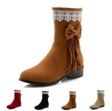 4 Colors Women Ankle Boots Suede Fabric Casual Comfy Low Heel Round Toe Shoes D