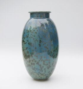 Vase Keramik mit Kristallglasur - Kunstkeramik - Art Pottery gemarkt - 31cm