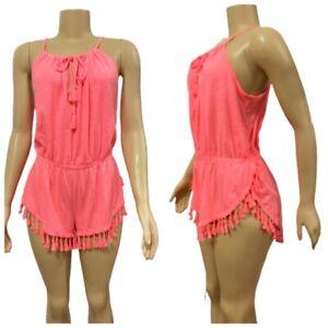Victorias Secret Lingerie Babydoll Romper Beach Cover Up Coral Pink