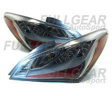 CHROME w/ SMOKE LED TAIL LIGHT PAIR SET FOR HYUNDAI GENESIS COUPE 2DR 2010-2012