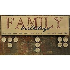 New Vintage Style Happy Birthday Family Friends Wooden Plaque Calendar With Tags