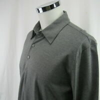 Express Gray Woven Print Pattern Long Sleeve Polo Rugby Men's Large Shirt