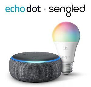 Echo Dot (3rd Gen) - Smart speaker with Alexa - Charcoal with Sengled gv