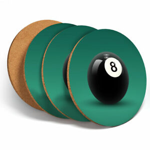 4 Set - Awesome 8 Ball Pool Snooker Coasters - Kitchen Drinks Coaster Gift #3004