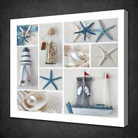 SEA STARS SEASHELLS COLLAGE DESIGN PICTURE CANVAS WALL ART PRINT READY TO HANG
