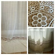 French Long Cream and Beige Linen and Lace Window / Door Curtain 170 x 244