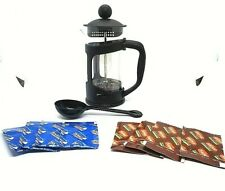 French Press Coffee Maker 12oz + Spoon + 4PK Coffee Decaf + 4PK Reg coffee