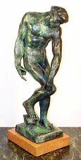 Schöne AKT BRONZE Skulptur ADAM, signiert RODIN
