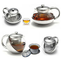 Glass Stainless Steel Loose Tea Leaf Teapot With Infuser 750ml/500ml NEW