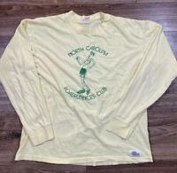 Vintage North Carolina Road Runners Running Jog 80s Yellow Long Sleeve Tee Large