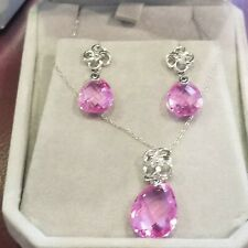10kt White Gold Diamond  and Pink Sapphire Earrings and Necklace Set